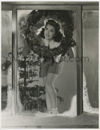 4s029 ANN RUTHERFORD deluxe 9.5x12.5 still '41 hanging gay Xmas wreath by Clarence Sinclair Bull!