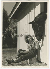 4s035 ANN RUTHERFORD deluxe 9.25x13 still '40s great image sitting by her horse at the stable!