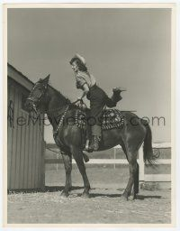 4s034 ANN RUTHERFORD deluxe 10x13 still '40s great image mounting her horse at the stable!