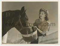 4s033 ANN RUTHERFORD deluxe 10x13 still '40s great close up smiling as she feeds her horse!