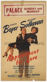 4s004 APPOINTMENT FOR LOVE mini WC '41 full-length Charles Boyer carrying Margaret Sullavan!