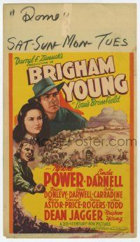 4s006 BRIGHAM YOUNG mini WC '40 Tyrone Power, Linda Darnell & Mormon leader Dean Jagger!