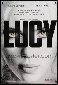4t049 LUCY teaser Canadian 1sh '14 cool image of Scarlett Johansson in the title role!