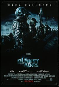 4t051 PLANET OF THE APES style D advance DS Canadian 1sh '01 Tim Burton, image of huge ape army!