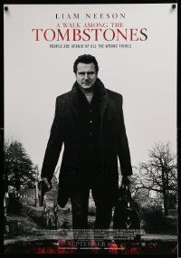 4t056 WALK AMONG THE TOMBSTONES advance Canadian 1sh '14 Liam Neeson in graveyard w/gun!