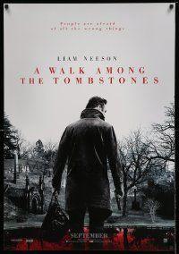 4t057 WALK AMONG THE TOMBSTONES teaser Canadian 1sh '14 Liam Neeson in graveyard w/gun!