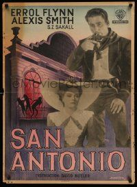 4t044 SAN ANTONIO Danish '50 different image of Errol Flynn and sexy Alexis Smith!