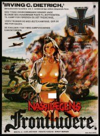 4t045 SHE DEVILS OF THE SS Danish '75 Birgit Bergen, art of mostly naked Nazi lady w/machine gun!