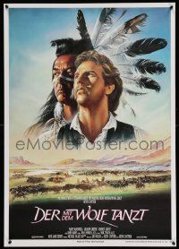 4t070 DANCES WITH WOLVES German '91 great Casaro art of Kevin Costner & Graham Greene!