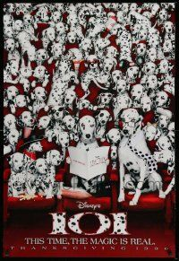 4w004 101 DALMATIANS teaser DS 1sh '96 Walt Disney live action, wacky image of dogs in theater!