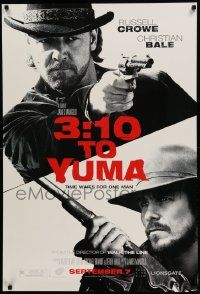4w002 3:10 TO YUMA heavy stock teaser 1sh '07 Russell Crowe & Christian Bale over white background!