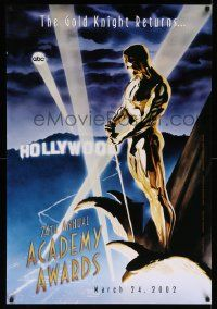 4w015 74TH ANNUAL ACADEMY AWARDS 1sh '02 cool Alex Ross art of Oscar over Hollywood!