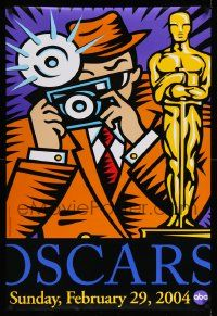 4w016 76TH ANNUAL ACADEMY AWARDS DS 1sh '04 great Burton Morris art of photographer & Oscar!