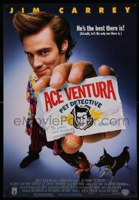 4w023 ACE VENTURA PET DETECTIVE 1sh '94 Jim Carrey tries to find Miami Dolphins mascot!