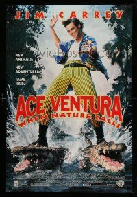 4w024 ACE VENTURA WHEN NATURE CALLS DS 1sh '95 wacky Jim Carrey on crocodiles by John Alvin!