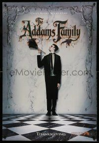 4w026 ADDAMS FAMILY teaser 1sh '91 full-length Carel Struycken as Lurch, weird is relative!