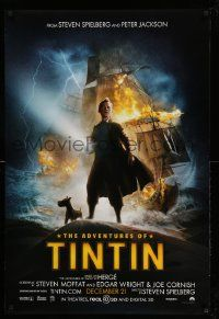4w029 ADVENTURES OF TINTIN advance DS 1sh '11 Steven Spielberg's version of the Belgian comic!
