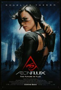 4w030 AEON FLUX advance DS 1sh '05 sexy futuristic Charlize Theron in black outfit!