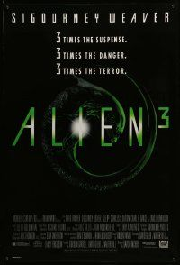 4w036 ALIEN 3 1sh '92 Sigourney Weaver, 3 times the danger, 3 times the terror!