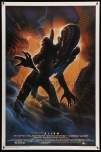4w034 ALIEN style A Kilian 1sh R94 Ridley Scott outer space classic, cool different Alvin art!