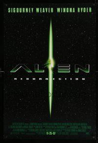 4w037 ALIEN RESURRECTION style B advance DS 1sh '97 Sigourney Weaver, Winona Ryder, Ron Perlman!