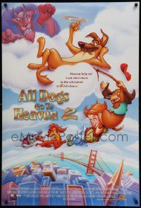 4w042 ALL DOGS GO TO HEAVEN 2 DS 1sh '96 canine cartoon, voices of Charlie Sheen & Sheena Easton!