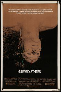 4w044 ALTERED STATES 1sh '80 William Hurt, Paddy Chayefsky, Ken Russell, sci-fi horror!