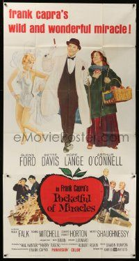 4y887 POCKETFUL OF MIRACLES 3sh '62 Frank Capra, artwork of Glenn Ford, Bette Davis & more!
