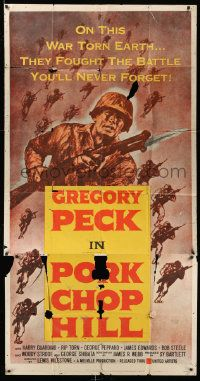 4y888 PORK CHOP HILL 3sh '59 Lewis Milestone directed, cool art of Korean War soldier Gregory Peck!