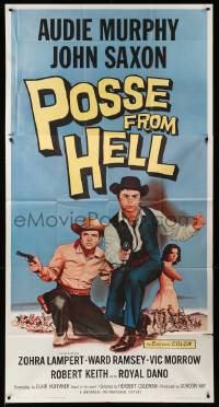 4y889 POSSE FROM HELL 3sh '61 Audie Murphy & John Saxon must stop gun-mad Devil spawn!