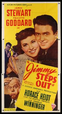 4y890 POT O' GOLD 3sh R46 romantic c/u of James Stewart & Paulette Goddard, Jimmy Steps Out!