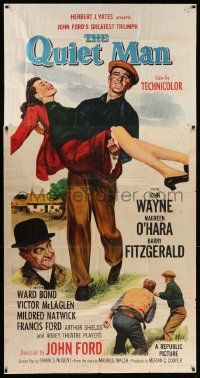 4y894 QUIET MAN 3sh R57 great image of John Wayne carrying Maureen O'Hara, John Ford classic!