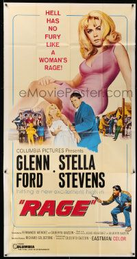 4y895 RAGE 3sh '66 running man Glenn Ford is out of time, close-up of super sexy Stella Stevens!