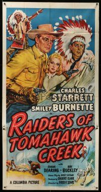 4y896 RAIDERS OF TOMAHAWK CREEK 3sh '50 art of Charles Starrett as the Durango Kid & Smiley!