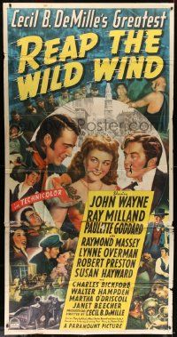4y898 REAP THE WILD WIND style B 3sh '42 Paulette Goddard between John Wayne & Ray Milland, rare!