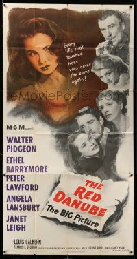 4y899 RED DANUBE 3sh '49 Janet Leigh, Angela Lansbury, Ethel Barrymore, Walter Pidgeon, Lawford