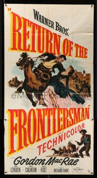 4y902 RETURN OF THE FRONTIERSMAN 3sh '50 art of Gordon MacRae on horseback grabbing Julie London!