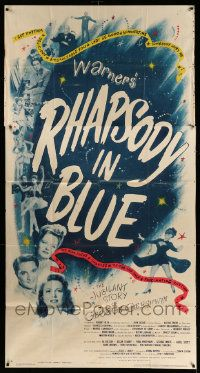 4y904 RHAPSODY IN BLUE 3sh '45 Robert Alda as George Gershwin, Al Jolson pictured!