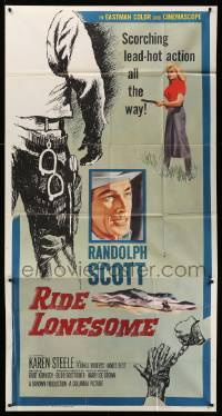 4y905 RIDE LONESOME 3sh '59 cowboy Randolph Scott, Karen Steele, directed by Budd Boetticher!