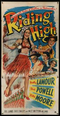 4y906 RIDING HIGH 3sh '43 sexy Dorothy Lamour in Native American Indian headdress, Dick Powell!