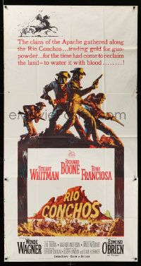 4y907 RIO CONCHOS 3sh '64 cool art of cowboys Richard Boone, Stuart Whitman & Tony Franciosa!