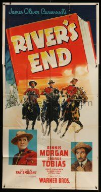 4y911 RIVER'S END 3sh '40 Canadian Mountie Dennis Morgan, from James Oliver Curwood story!