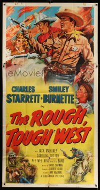4y918 ROUGH TOUGH WEST 3sh '52 Cravath art of Starrett as the Durango Kid & firefighter Smiley!