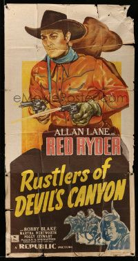 4y919 RUSTLERS OF DEVIL'S CANYON 3sh '47 cool art of Allan Lane as Red Ryder shooting two guns!