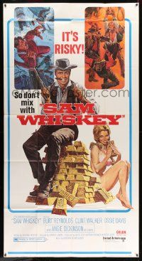 4y922 SAM WHISKEY 3sh '69 Allison art of Burt Reynolds & sexy Angie Dickinson by huge pile of gold!