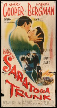 4y923 SARATOGA TRUNK 3sh '45 c/u of Gary Cooper about to kiss Ingrid Bergman, by Edna Ferber!