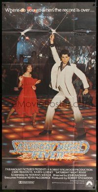 4y924 SATURDAY NIGHT FEVER int'l 3sh '77 best image of disco John Travolta & Karen Lynn Gorney!