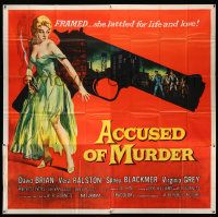 4y003 ACCUSED OF MURDER 6sh '57 cool sexy girl and gun noir image, she battled for life & love!