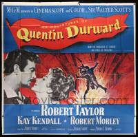 4y006 ADVENTURES OF QUENTIN DURWARD 6sh '55 English hero Robert Taylor & pretty Kay Kendall!