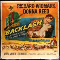 4y011 BACKLASH 6sh '56 art of Richard Widmark & Donna Reed, suspense that cuts like a whip!